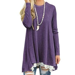 NWT Plus Size Long Sleeve Lace-Trim Tunic 2X